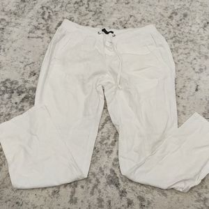Gap white linen blend pants